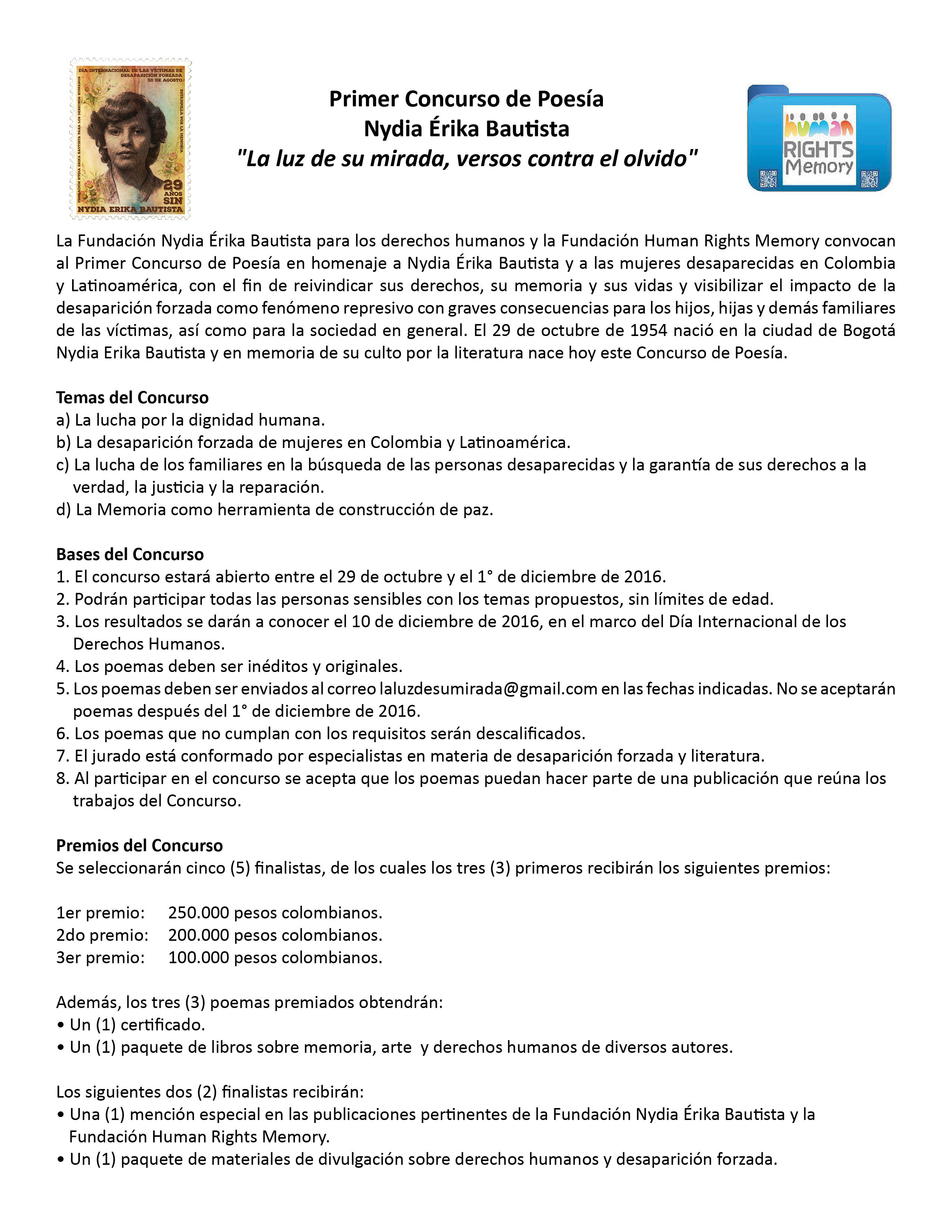 PRIMER CONCURSO DE POESÍA NYDIA ÉRIKA BAUTISTA (Colombia)