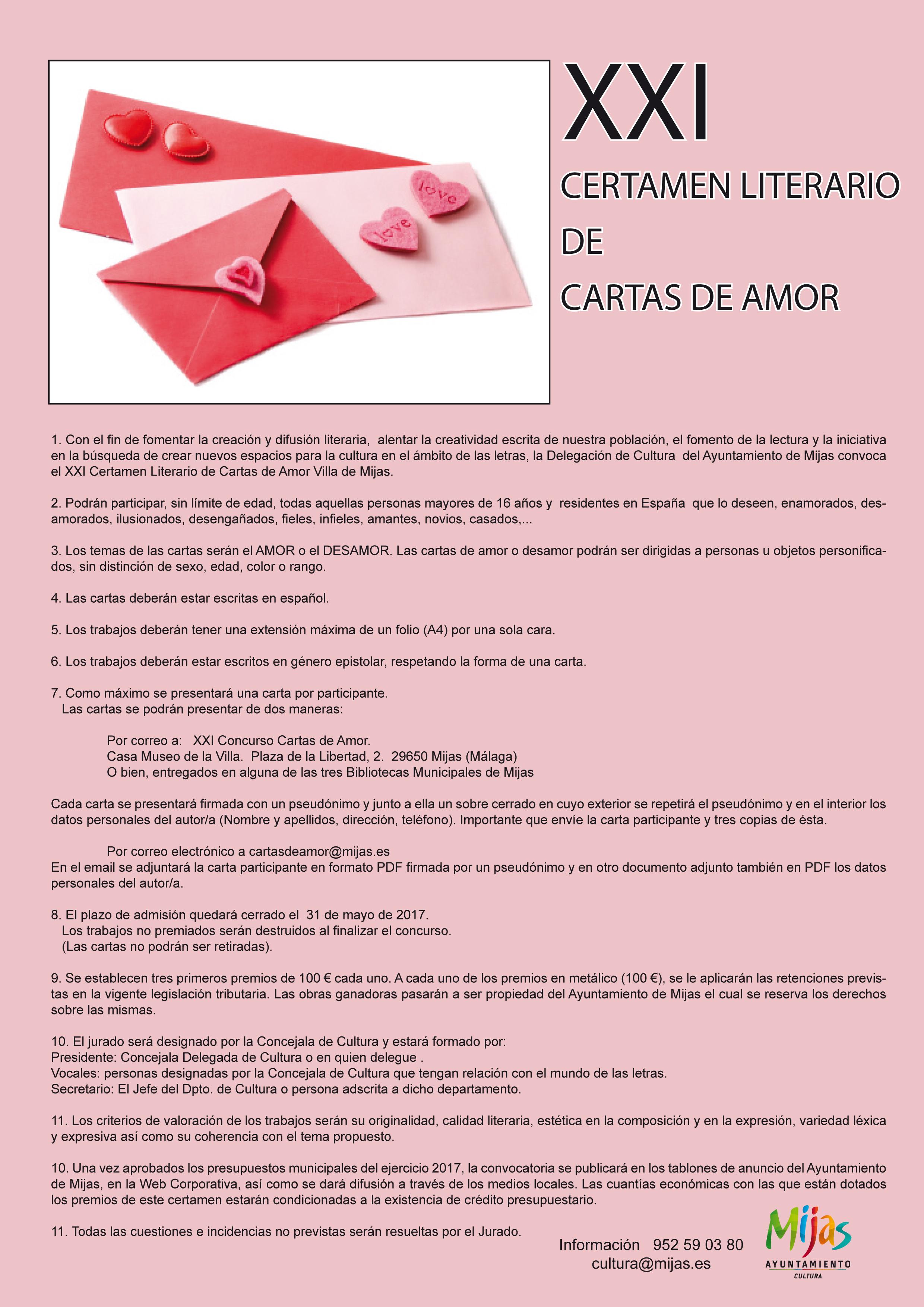 Xxi Certamen Literario De Cartas De Amor Villa De Mijas España